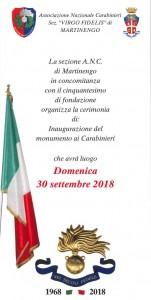 Inaugurazione del monumento ai Carabinieri per il 50°esimo di fondazione @ Martinengo