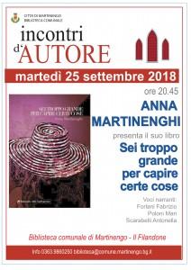 """Incontri d'autore: Anna Martinenghi  presenta  il libro """"Sei troppo grande per capire le cose"""" @ Sala Consiliare del Filandone"""